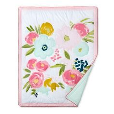 Keep your little sweetie soft and snug as they blossom and flourish with the Pink/Aqua Floral Fields Crib Bedding Set from Cloud Island™. The darling floral quilt and soft, woven sheets fit right in with your style and double as so-cute decor. Drape the embroidered quilt over the side of baby's crib or on the back of your rocking chair for a fresh look. With pink ribbon trim, the aqua crib skirt will put the finishing touch on the nursery.<br><br>Sleep Safely, Li...