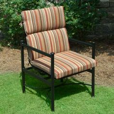Plantation Patterns Hampton Bay Cayenne Stripe Deluxe High Back Outdoor Chair Cushion available at The Home Depot.