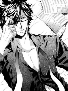 Karneval ~~ He's just laying on the bed. Shirt partially open, glasses coming off, and looking sexy as hell. So who is he gazing at with that come-hither smile? :: Hirato
