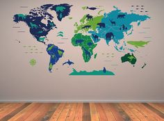 Nursery map wall decal with animals Package contents:    - application tool.  - step by step instructions to install will help you apply your decal