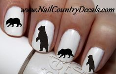 50pc Black Bear Silhouette Nail Decals Nail Art Nail Stickers Best Price NC329
