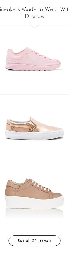 """""""Sneakers Made to Wear With Dresses"""" by polyvore-editorial ❤ liked on Polyvore featuring SNEAKERSANDDRESSES, shoes, sneakers, baby pink, nike sneakers, nike shoes, nike trainers, laced sneakers, water resistant sneakers and slip on sneakers"""