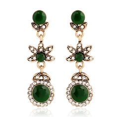 Vintage Costume Jewelry Long Floral Petals Green Round Drop Earrings in Gold Tone Crystal Micro Pave Antique Resin Earrings