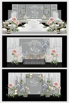 Modern minimalist gray-white theme wedding effect picture & Models Decor Wedding Backdrop Design, Wedding Stage Design, Wedding Stage Decorations, Wedding Ceremony Arch, Wedding Scene, Chinese Wedding Decor, Altar, Event Themes, Indoor Wedding
