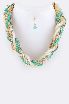 BRAIDED BEADS NECKLACE EARRINGS SET (MINT) - $20