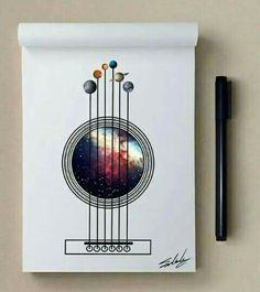 Good night – Stars Themed Illustrations by Muhammed Salah We are want to say t. Good night – Stars Themed Illustrations by Muhammed Salah We are want to say thanks if you like to share this post to an. Guitar Drawing, Guitar Art, Guitar Doodle, Guitar Sketch, Galaxy Painting, Galaxy Art, Art Galaxie, Stylo Art, Caricature Artist