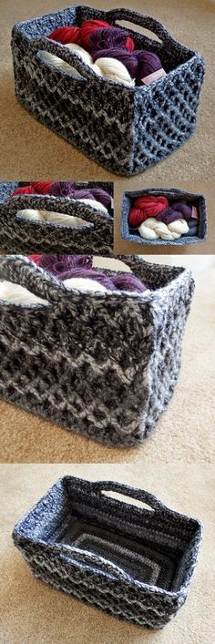 Rectangular Diamond Trellis Basket – Free crochet pattern with video tutorial! I need to make about 10 of these.