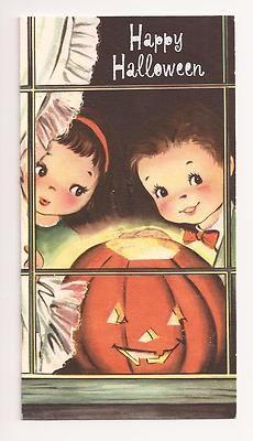 Vintage Halloween Greeting Card ~ Paramount Girl & Boy w/ Jack O' Lantern * Circa, 1950's.