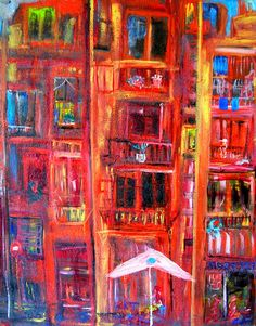 Barceloneta. Mixed Media Arcyl, Harz  Leinöl, Pigmente, Strukturmasse, Ölfarben, Spachtel. Leinwand. #actionmaler #kunst  #malerei #barcelona http:/actionmaler.de