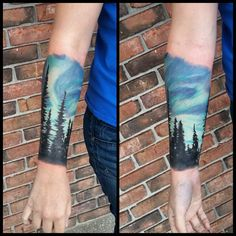 First session on a #custom designed #spruce #northernlights #galaxy #sleeve #tattoo  #fullcustomtattoo #jimmyriggstatts #jacksonville #florida #tattooartist #original #pridetattooneedles #phucstyx...