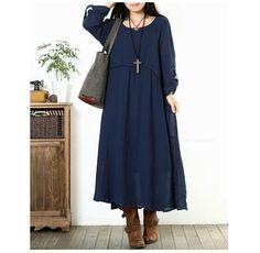 Nuevo otoño mujeres ropa de algodón vestido Maxi 2015 Color sólido de manga larga cuello redondo suelta más el vestido largo ocasional en Vestidos de Moda y Complementos Mujer en AliExpress.com | Alibaba Group