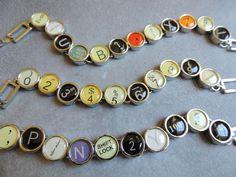 Vintage-inspired typewriter key bracelet