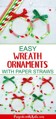 These wreath ornaments with paper straws are the perfect colorful addition to any Christmas tree. An easy and fun Christmas craft for kids of all ages. kids christmas crafts easy Easy Kid Made Wreath Ornaments with Paper Straws Paper Ornaments, Ornament Crafts, Diy Christmas Ornaments, Christmas Fun, Simple Christmas Crafts, Christmas Tree Decorations For Kids, Diy Ornaments For Kids, Christmas Card Ideas With Kids, Christmas Activities For Children