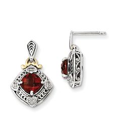 Sterling Silver w/14k Diamond & Garnet Earrings QTC667
