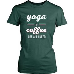 Yoga & Coffee are all I need Yoga T Shirt - District Unisex Shirt / Black / S   Unique tees, hoodies, tank tops  - 1