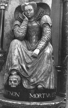 ELIZABETH RUSSELL (October 1575-July 1600) Elizabeth Russell was the elder daughter of Lord John Russell (d.1584) and Elizabeth Cooke (c.1528-May 1609). She is said to have been born within the precincts of Westminster Abbey, where the Dean had given her mother permission to take refuge from an outbreak of the plague. Queen Elizabeth I was her godmother. At nineteen, she went to court as a maid of honor. Buried in Westminster Abbey, she is shown asleep sitting up, one foot resting on a…