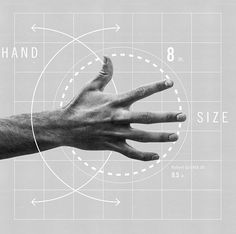 Hand. Size 8. Infographic. The Freak Anatomy of Surfing's Thor.  Co.Design. Business. Innovation.  Design. Illustration. Black & White. Human. Numbers. Circle. Blueprint. Fresh. Modern. Clean.