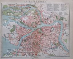 1895 ST. PETERSBURG RUSSLAND alte Stadtplan Antique City Map Lithographie