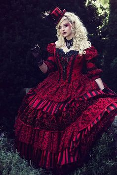 Sale! Masquerade Circus Ball Gown Halloween Wedding Gothic Victorian Red Black 3 Piece Set One of a Kind!  Size Medium