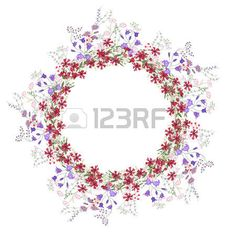 Detailed contour wreath with bluebells carnations and wild flowers isolated on white Round frame for Stock Vector Round Frame, Carnations, Contour, Vector Art, Wild Flowers, Clip Art, Wreaths, Stock Photos, Detail