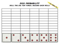 3 dice probability charts for decision-making worksheets