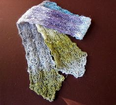 Cause and Effect scarf in Noro Silk Garden with tapered ends modification