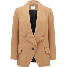 PARKA LONDON Alana Wool Blazer Coat - Camel ($385) ❤ liked on Polyvore featuring outerwear, coats, camel, dinner jacket, beige coat, tuxedo jacket, boyfriend coat and camel wool coat