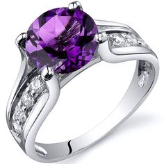 Solitaire Style 1.75 carats Amethyst Ring in Sterling Silver Rhodium Finish Available in Sizes 5 thru 9  