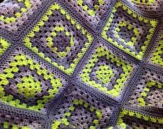 Crochet Granny Square Throw Blanket - Lime and Grey