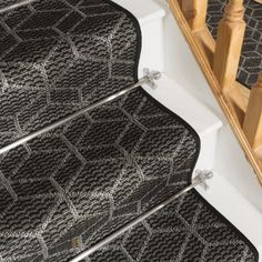 Cube Black Stair Carpet Runner - Free delivery on orders over & 30 day return guarantee from Carpet Runners UK. Wall Carpet, Carpet Stairs, Black Stairs, Treads And Risers, Stair Rods, Modern Stairs, Modern Cottage, Carpet Design, Carpet Runner