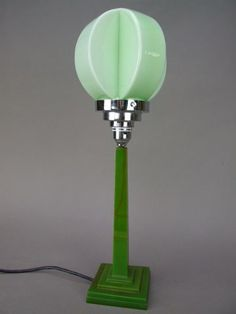 1960s retro lime green glass lamp shade manufactured by peill rare green phenolic table lamp with geometric pale green glass shade it measures 185 inches aloadofball Image collections