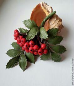 Купить Веточка рябины из кожи - цветы из кожи, цветок из кожи, Рябина, Рябинка, кожа натуральная