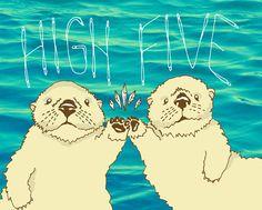 HIGH FIVE sea otters illustration 5x7 or 8x10 art print - wedding gift, valentines, love, cute, marine, swimmers, coast, ocean, beach