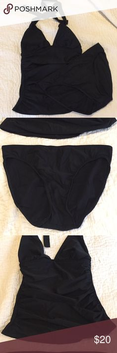Shape fx Swim Black Tankini Great condition. Both top and bottom are size 8. Full coverage bottom. Halter tie tankini top with slimming ruching detail. Lined. Shape FX Swim Bikinis