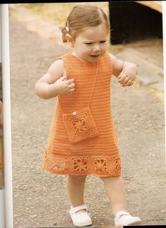 manualidades de tiempo libre: Vestido tejido a crochet para niña