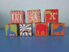 Personalized Wood Circus Blocks   Morena's Corner