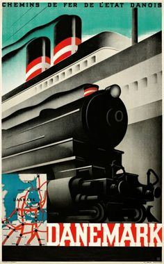 Danemark - Chemins des Fer, 1934 by Sven Henriksen. Train Posters, Railway Posters, Tourism Poster, Poster Ads, Art Deco Posters, Vintage Travel Posters, Retro Posters, Wassily Kandinsky, Vintage Advertisements