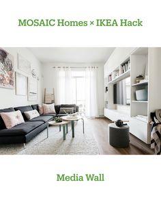 x hacks No. I'd happily entertain a discerning group of friends or watch game here Ikea Tv Wall Unit, Ikea Soderhamn, Söderhamn Sofa, Romantic Living Room, Pastel Interior, Ikea Living Room, Apartment Interior, Diy Room Decor, Home Decor