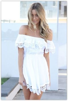Summer looks with white dress - Not a big fan of off the shoulder styles, but this is cute.