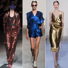 The near future's looking so bright, you might want to go ahead and invest in statement shades. Designers played with reflective metallics in multicarat gold and jewel tones as well, allowing a lady to get her shine on in whatever iteration feels most appropriate.