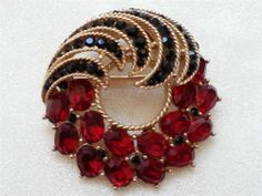 Vintage Crown Trifari Cavalcade 1963 Red Black Rhinestone Gold Tone Brooch Pin | eBay