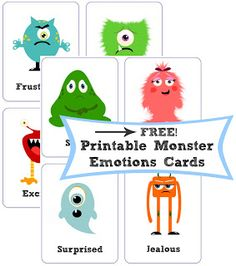Monster Emotion Cards - free printable. Great for a calming corner!