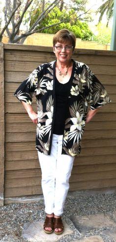 Genius Refashion - Oversized Hawaiian shirt into a great kimono jacket.