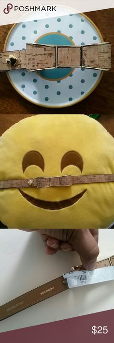 """Kate Spade Skinny Belt Wardrobe staple. Cute neutral color (wood grain effect) and gold metal. Ribbon detail and hook. Genuine leather. Measures 39"""" length, 31"""" to first hole and about 35"""" to last one, has five holes. kate spade Accessories Belts"""