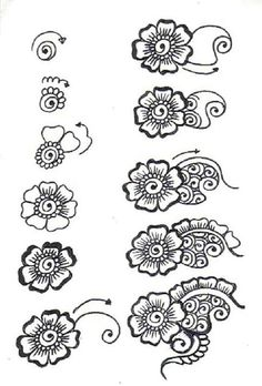 Henna step-by-step. Not sure who drew it ...
