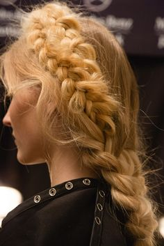 Tousled texture gives these stacked braids extra edge // Mara Hoffman Fall 2015 Braids DIY