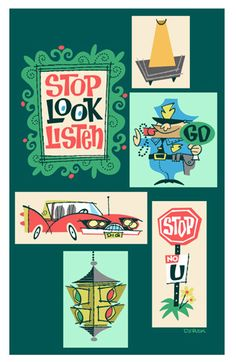 Derek Art - Illustration, Serigraphs, Paintings, and Tiki Mugs - Illustration: Stop Look Listen. S.