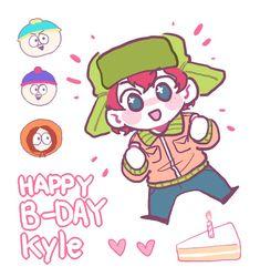 happy b-day kyle! South Park Characters, Fictional Characters, Kyle Broflovski, South Park Fanart, Park Art, Happy B Day, Gummy Bears, Animation, Cartoon