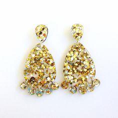 Super Lush Drop Earrings Gold Riot by EachToOwn on Etsy