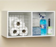 A simple and easy way to store those miscellaneous items in your bathroom #ClosetMaid